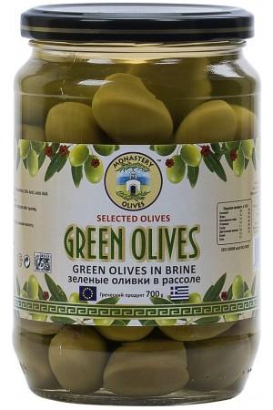 Оливки зеленые отборные с косточкой 0,7 кг ст/б